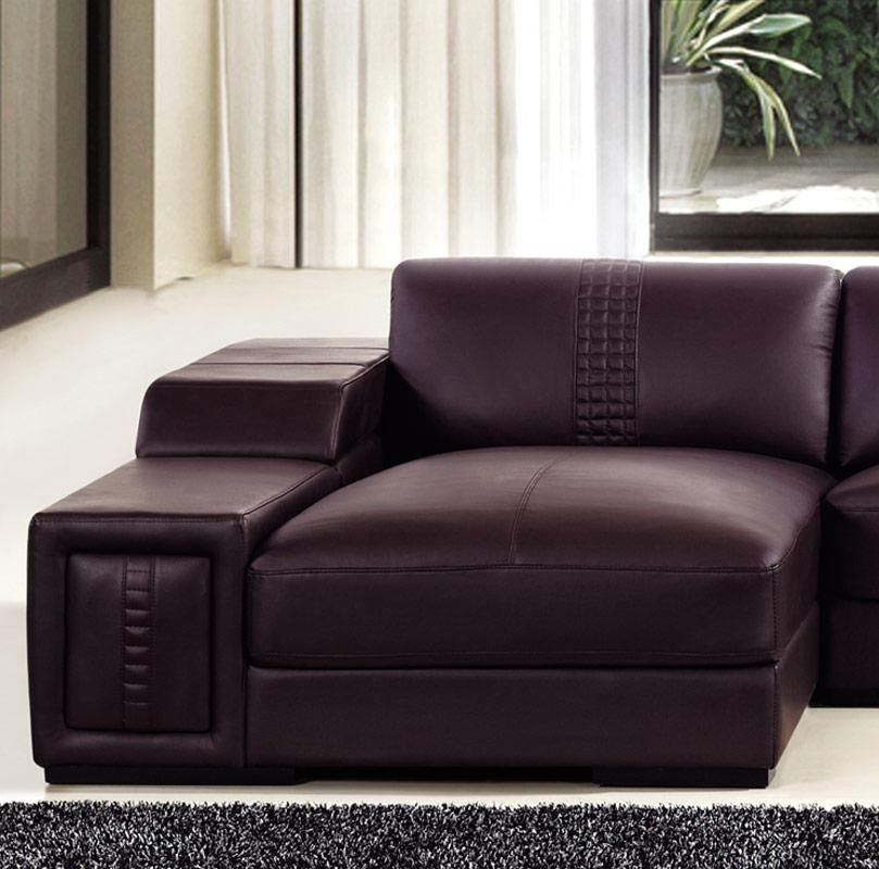 Genuine Leather Modern Sectional Sofa: Brown Leather Sectional Sofa With Built In Coffee Table