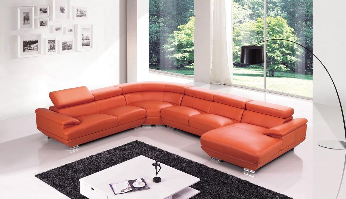 Exclusive Tufted Curved Sectional Sofa In Leather
