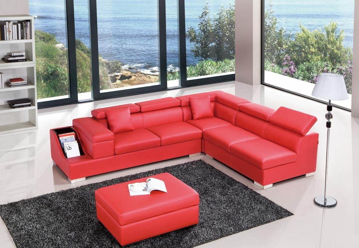 Red Color Sectional Sofa Upholstered in High Quality Leather
