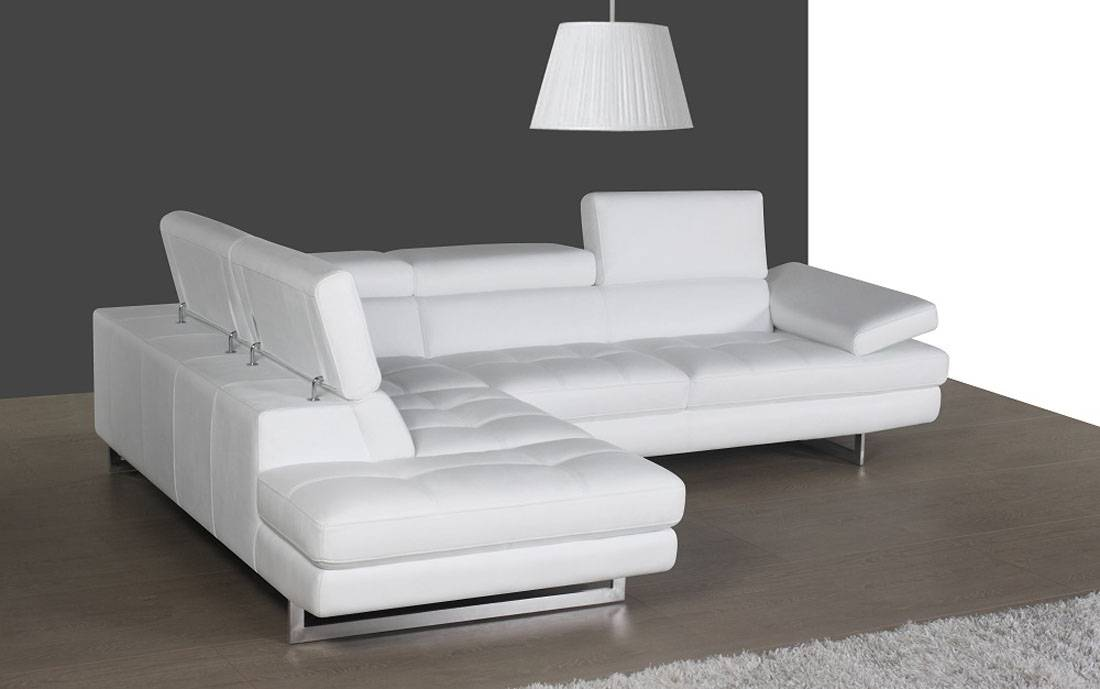 Contemporary White Leather Sectional With Curved Armrest