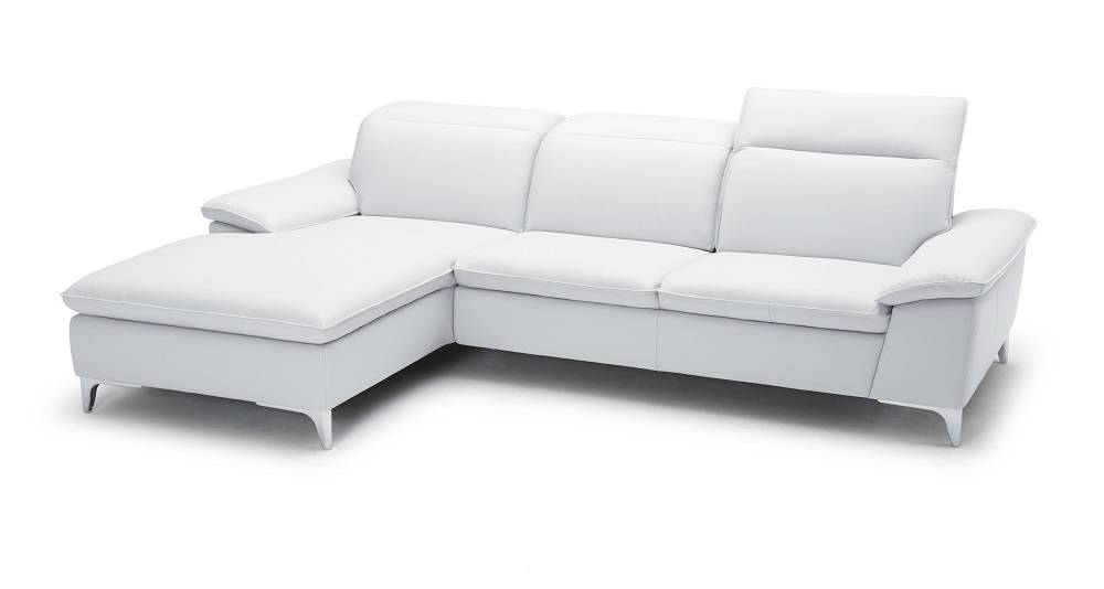 White two piece sectional sofa with ratchet headrest san for Apartment size leather sofa