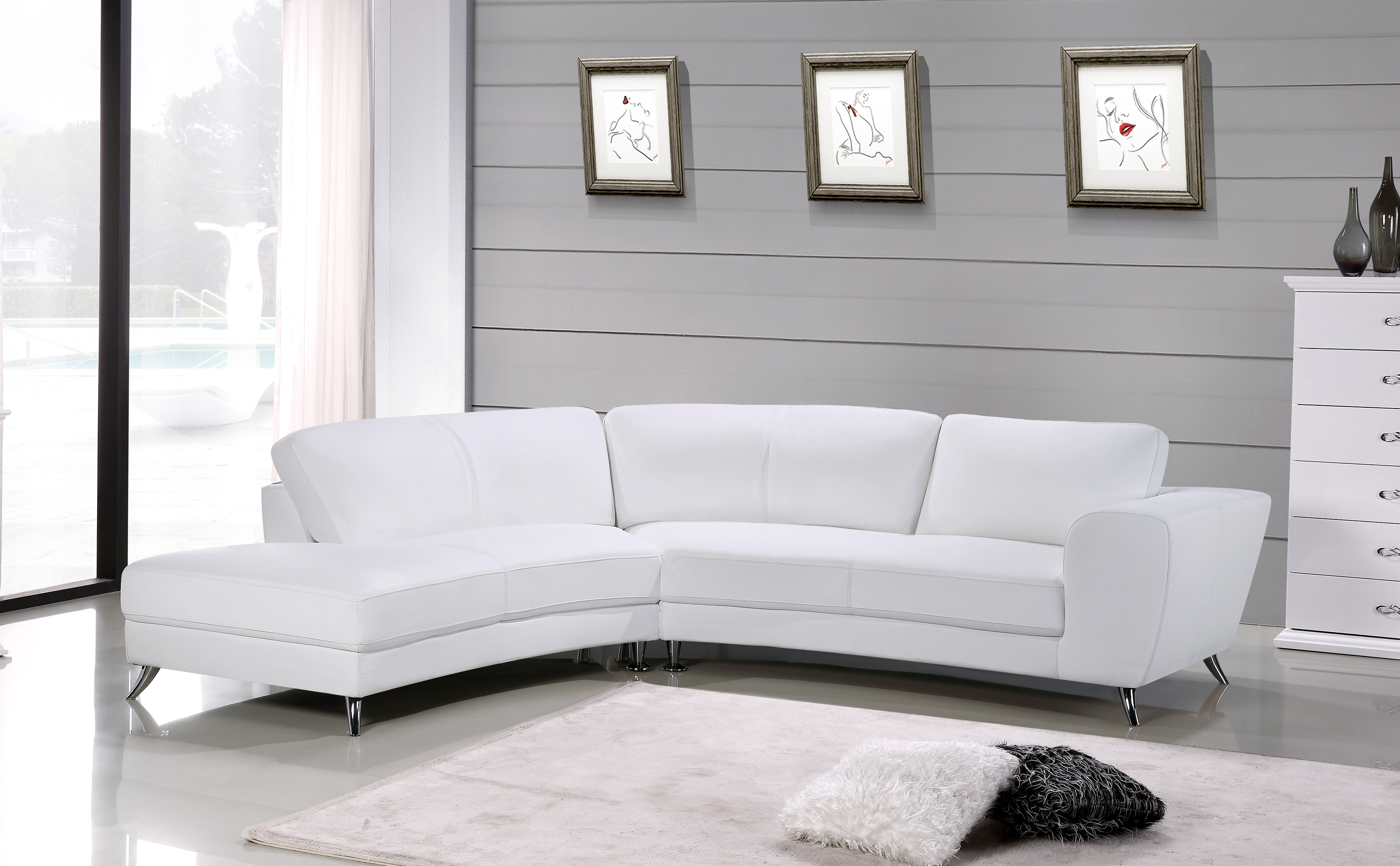 Contemporary Half Sectional Upholstered in Real Leather