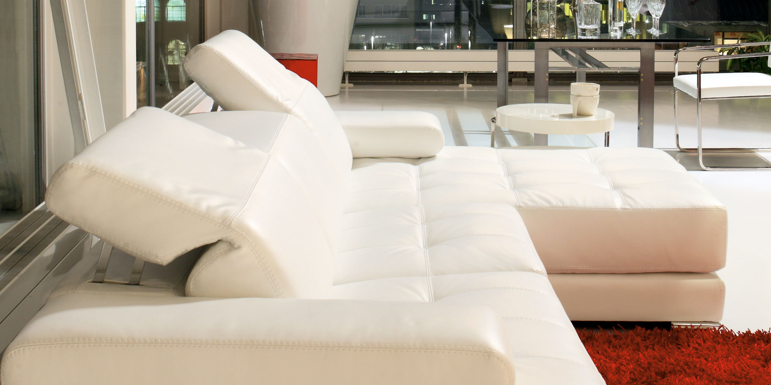 Elite 100% Italian Leather Sectional - Click Image to Close