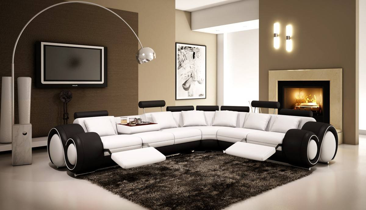 bcf7a9f27f925 Black Base and White Seats Contemporary Sectional in Full Leather ...
