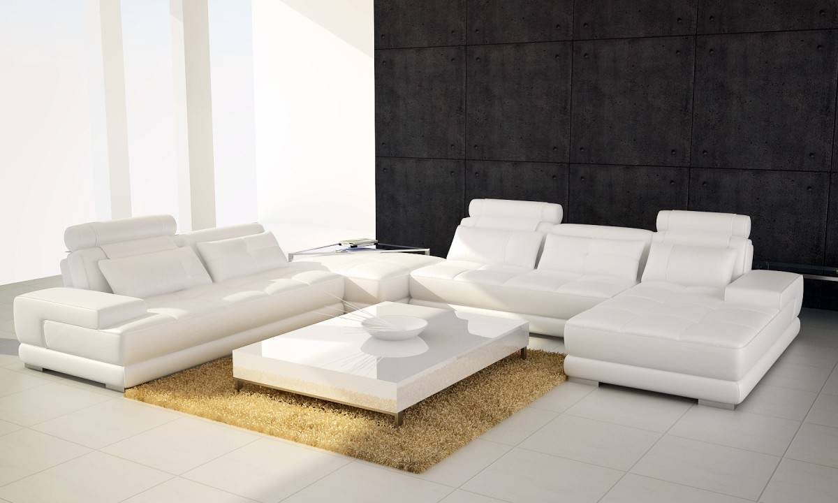Four Pieced Leather Sectional Sofa With Adjustable Headrests  ~ Sectional Sofa Indianapolis