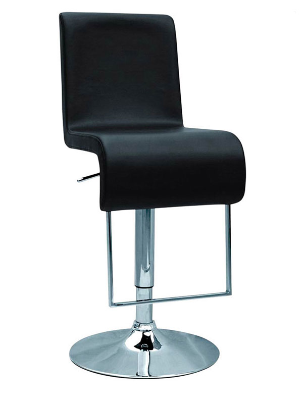 Black Or White Contemporary Bar Stool With Round Chrome