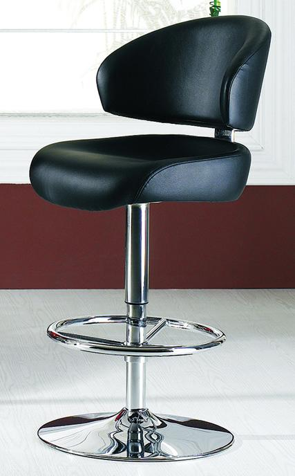 Contemporary Bar Chair With Back Rest In Black White Or