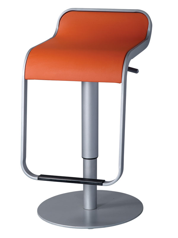 Contemporary bar stool with hydraulic lever 2 colors leather seats