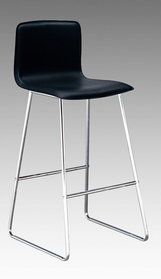 Contemporary Matteo Leather Barstool With Chrome Wire Legs