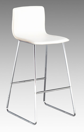 Contemporary Matteo Leather Barstool With Chrome Wire Legs Larger Image