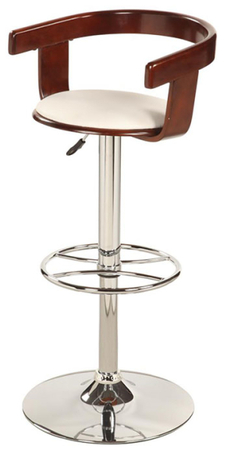 Contemporary chrome wood and leather bar stool prime for Luxury leather bar stools