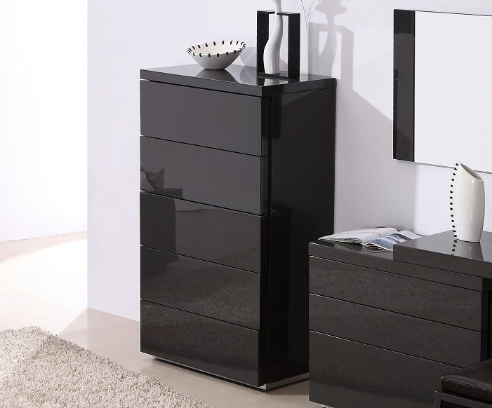 dark grey gloss functional chest of drawers for contemporary bedroom