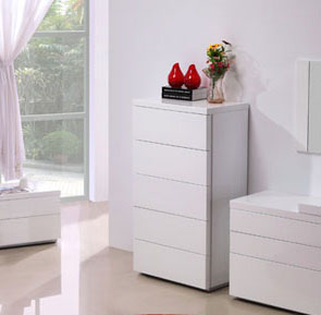 White Gloss Functional Five Chest of Drawers for Contemporary Bedroom