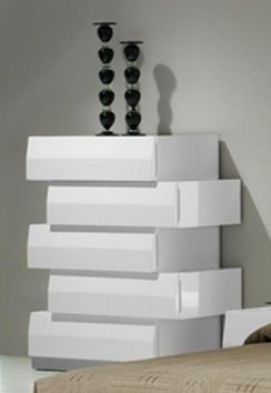 Milan Contemporary 5 Drawer Chest In White Lacquer Finish