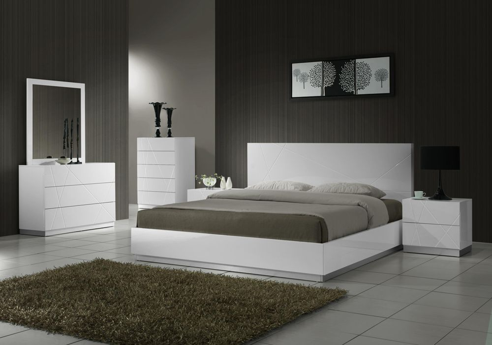Naples contemporary 5 drawer chest in white lacquer finish - Contemporary bedroom chest of drawers ...