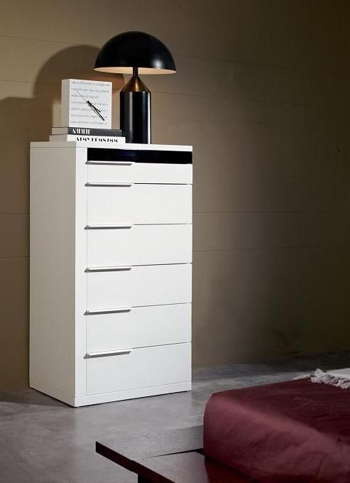 White Gloss Bedroom Furniture: Unique White Glossy Contemporary Chest With Six Drawers