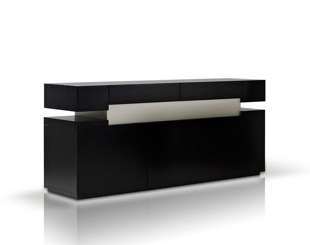 Modern And Italian Buffets Stylish Accessories Black White Oak Veneer Dining Buffet