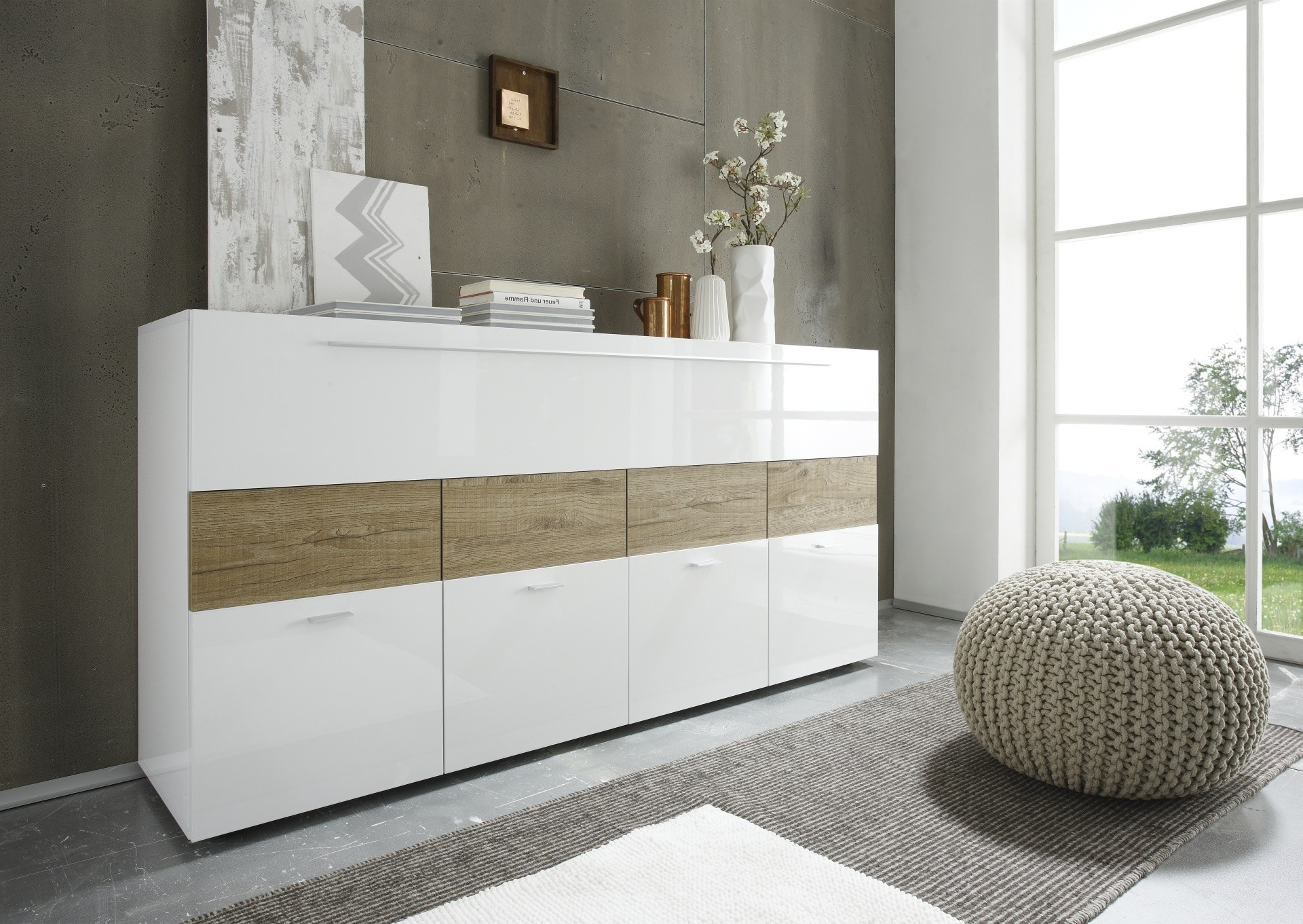 Natural wood trim contemporary buffet in high gloss white