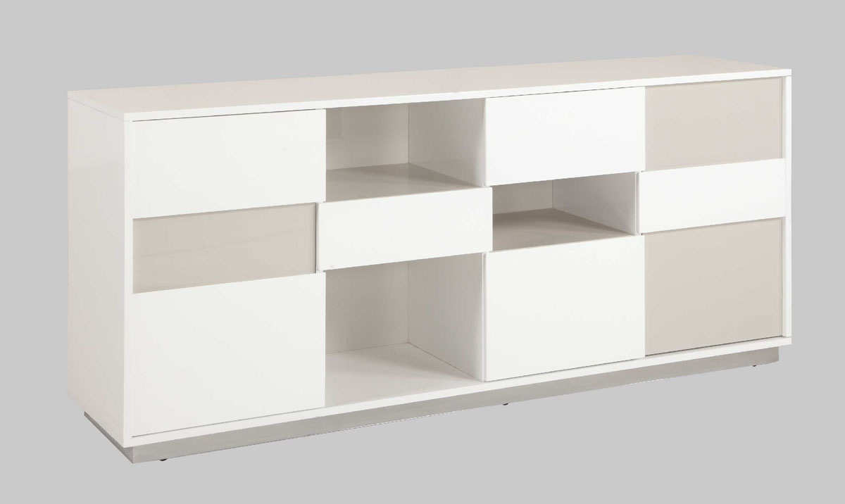 Buffet with Open Storage Spaces in Gloss White and Grey Lacquer
