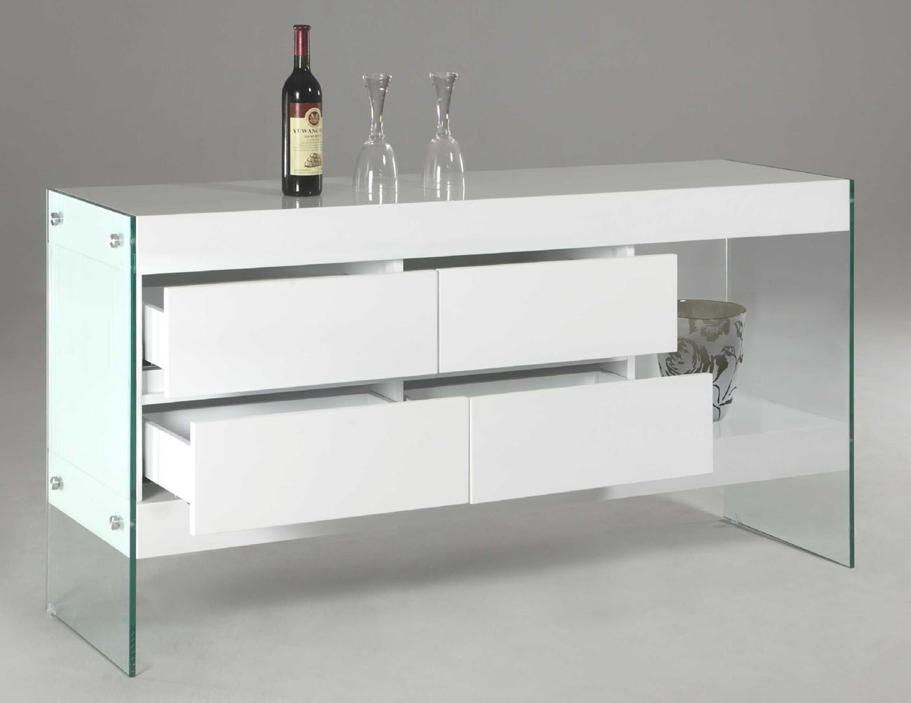 White Lacquer Wood With Glass Sides And Legs Contemporary
