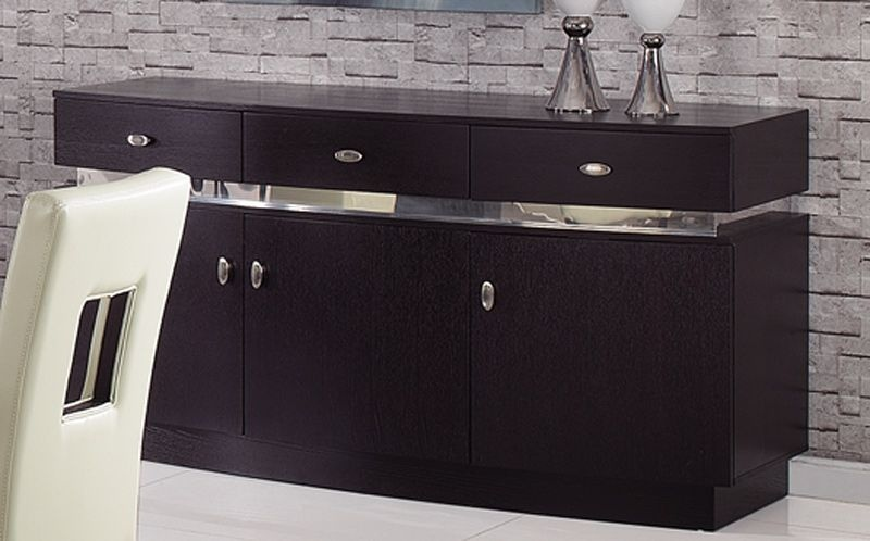 brown contemporary buffet with glass inlay denver colorado gfg072. Black Bedroom Furniture Sets. Home Design Ideas