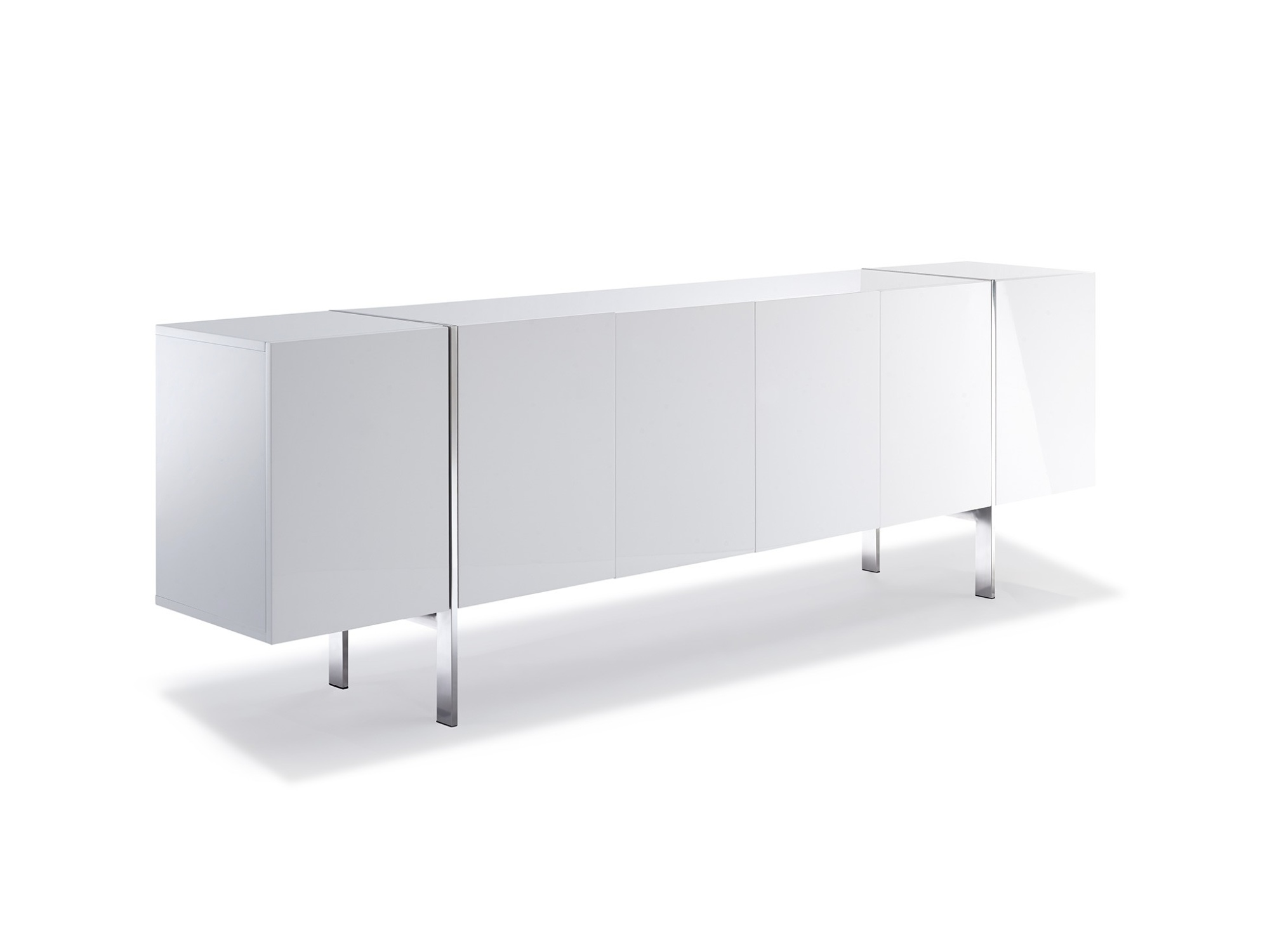 Gorgeous High Gloss White Buffet with Stainless Steel Legs
