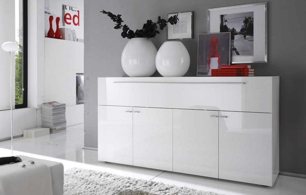 High gloss white lacquered italian buffet with lot of - Buffet design pas cher ...