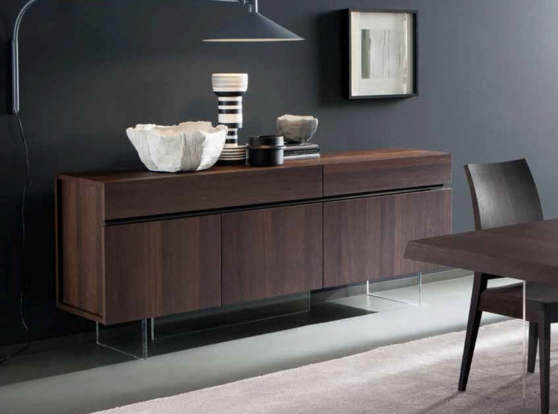 High Quality Dining Room Tables Italian Dark Walnut Wood Three Door Buffet Sideboard Miami
