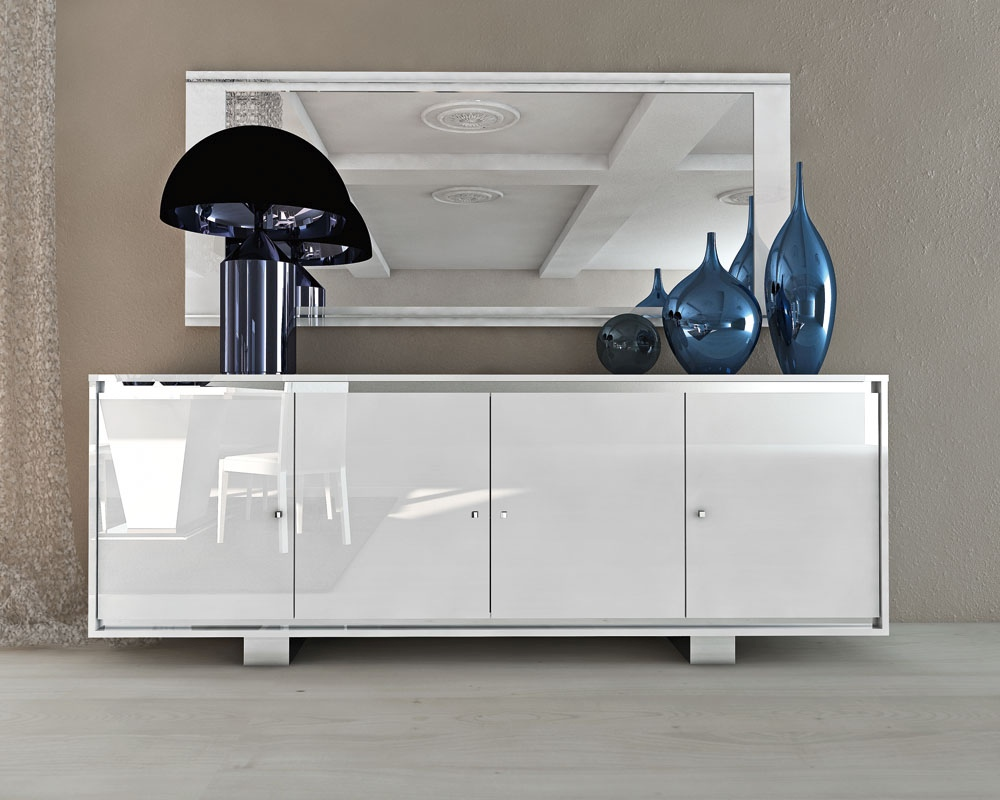 Italian White Four Door Buffet In Glossy Finish