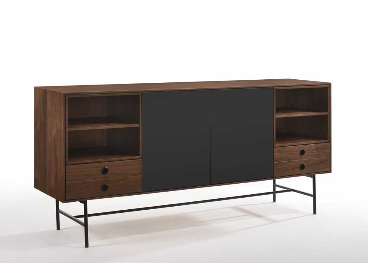 Mid-Century Modern Walnut and Grey Buffet - Click Image to Close