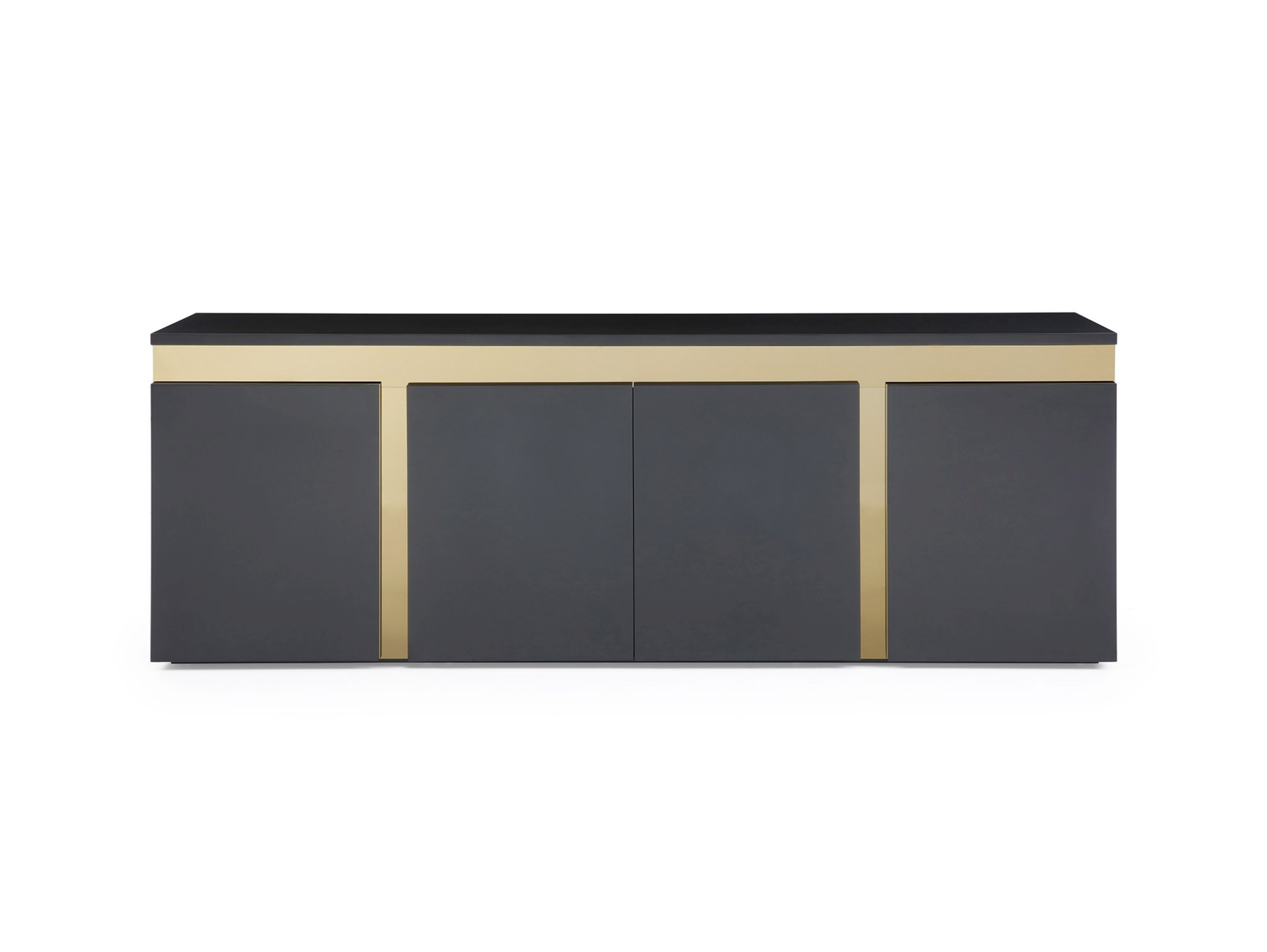 Modern Glossy Black Buffet with Golden Accents - Click Image to Close