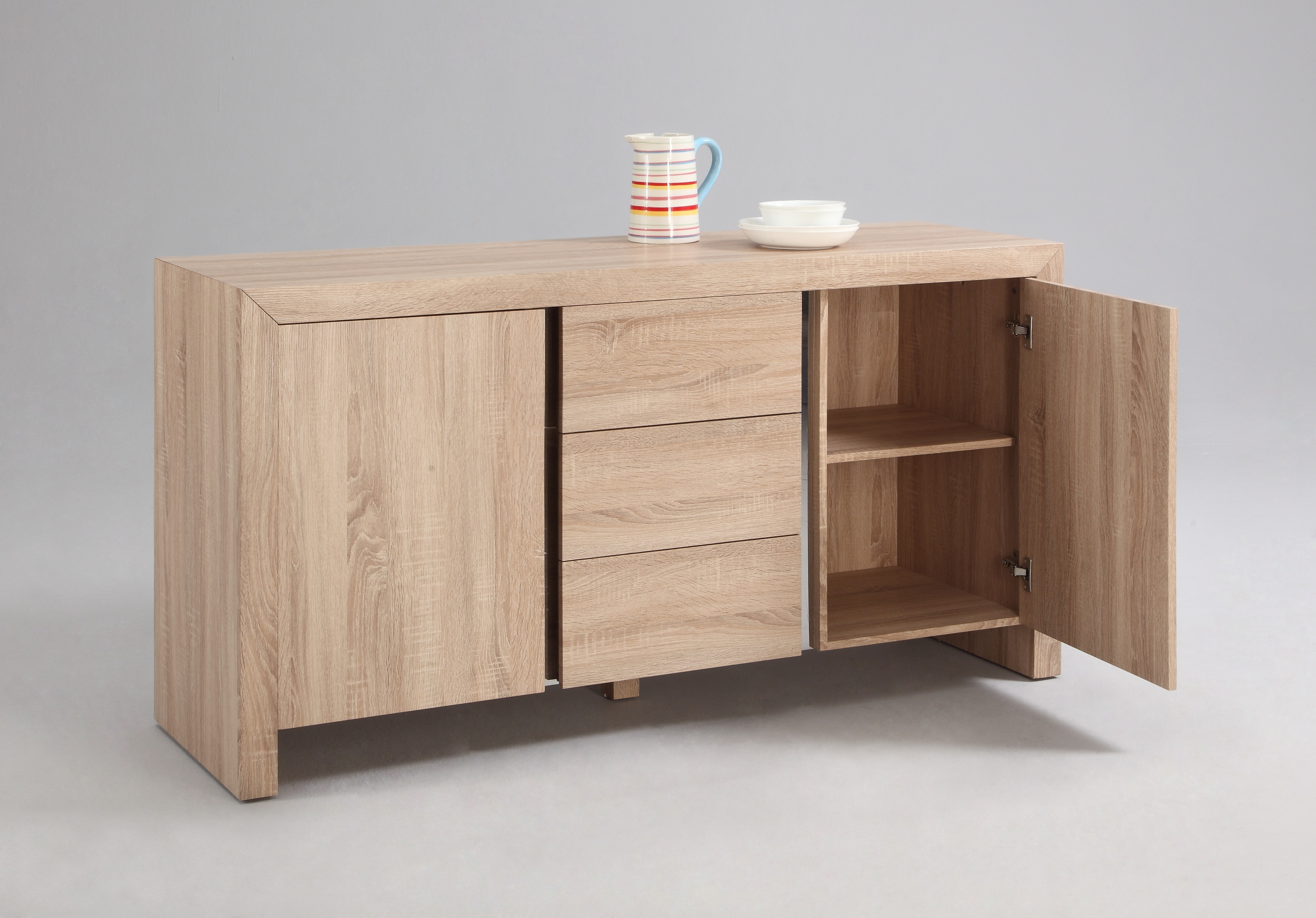 light oak buffet with three drawers oakland california chzoe. Black Bedroom Furniture Sets. Home Design Ideas