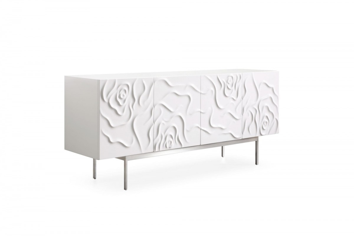 Modern White High Gloss Pattern Buffet - Click Image to Close
