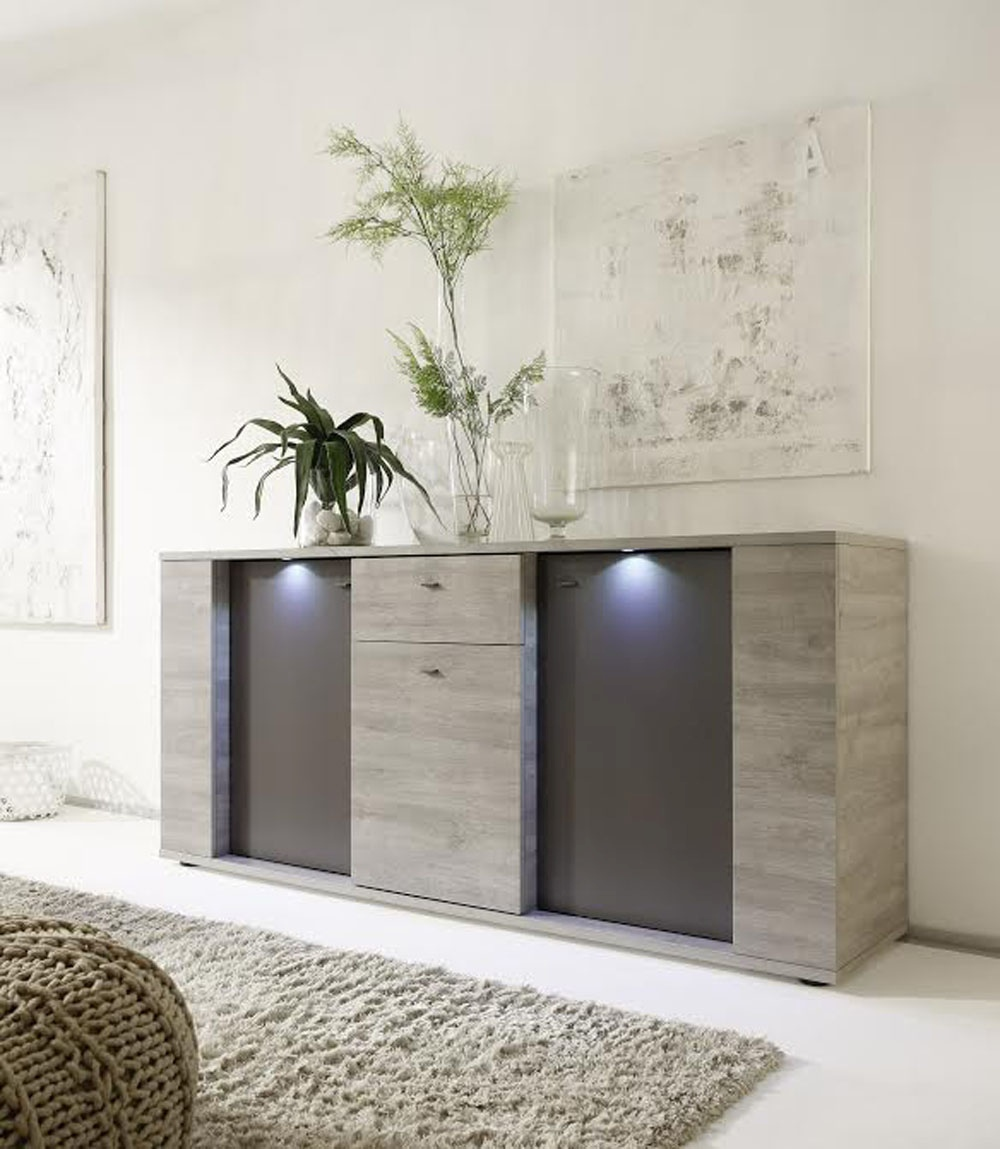 Italian Contemporary Sideboard Buffet With Led Lights