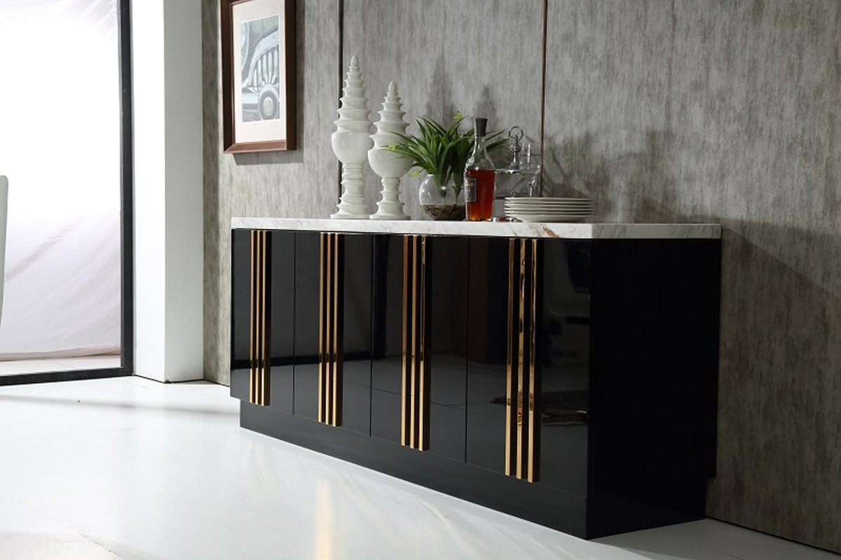 Italian Design Black Modern Buffet Cabinet With Marble