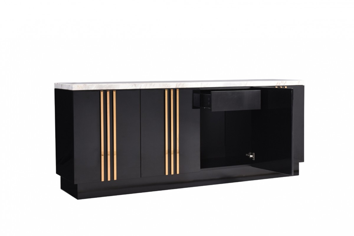 Italian Design Black Modern Buffet Cabinet with Marble Detroit ...