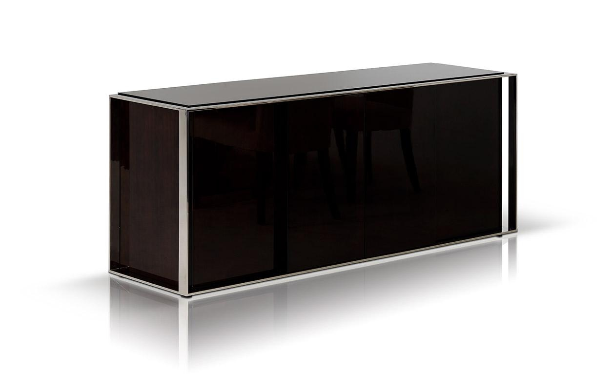 Contemporary ebony lacquer buffet with four doors buffalo for Sideboard glasfront