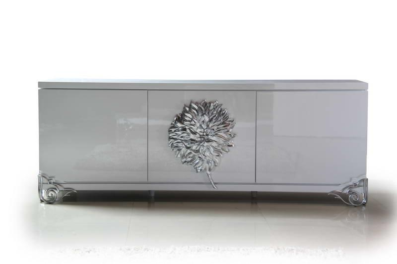 Gorgeous High Gloss White Buffet with Stainless Steel Legs - Click Image to Close