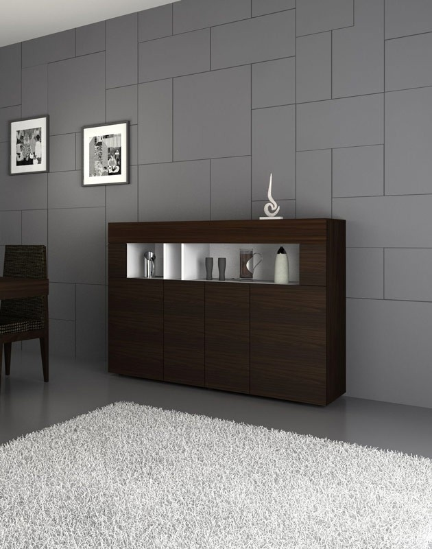 contemporary sideboard with four doors in white and. Black Bedroom Furniture Sets. Home Design Ideas
