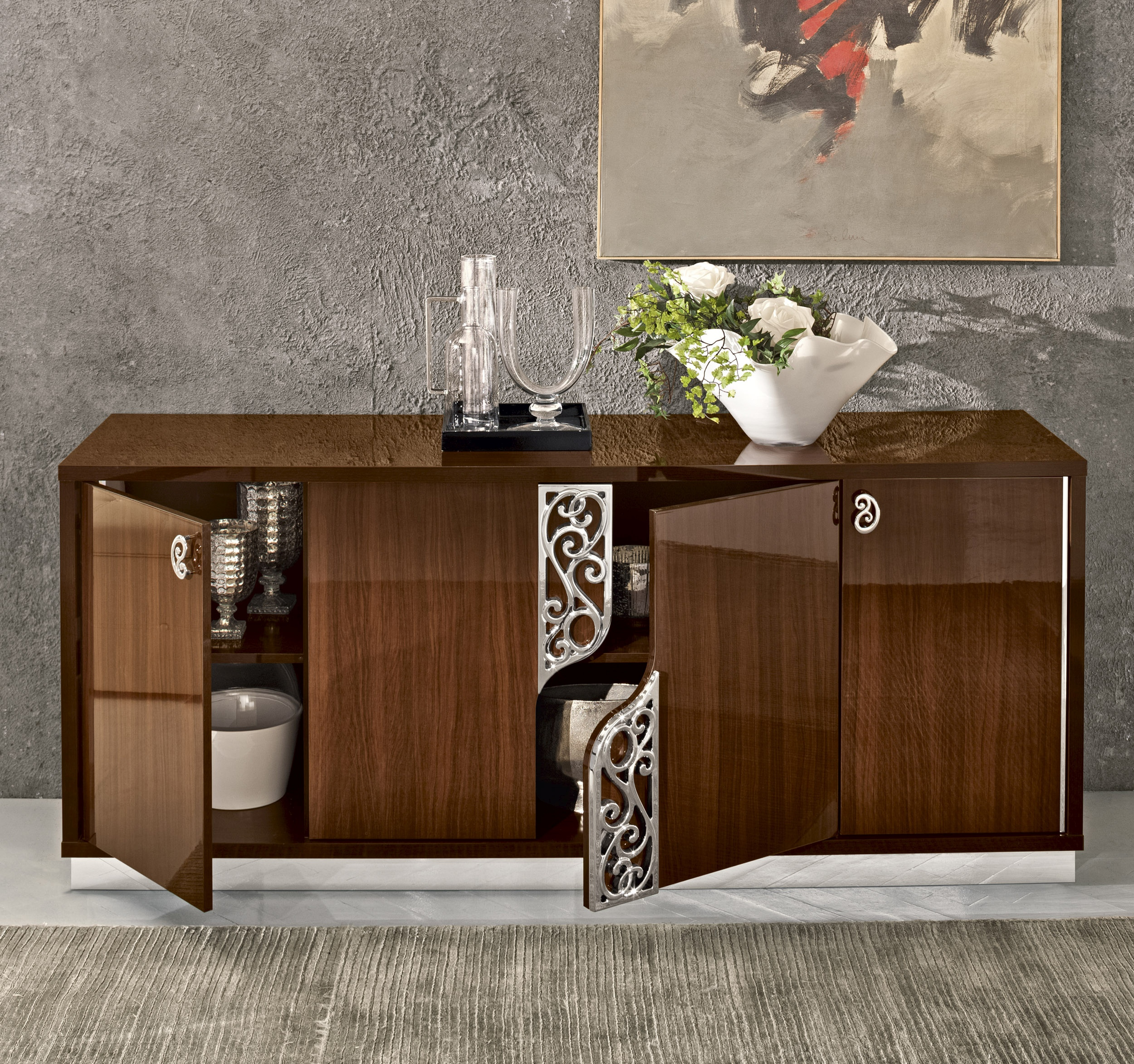 Discount Kitchen Cabinets Portland Oregon: Four Door Walnut Color Cabinet Upscale Look Buffet