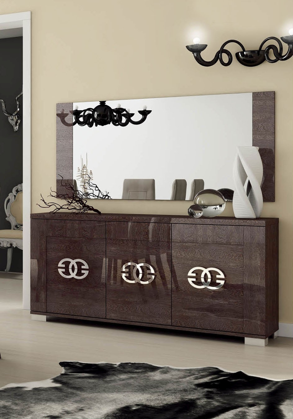 Modern Italian Sliding Etched Glass Door: Italian Made Walnut Lacquered 3 Door Buffet With Chrome