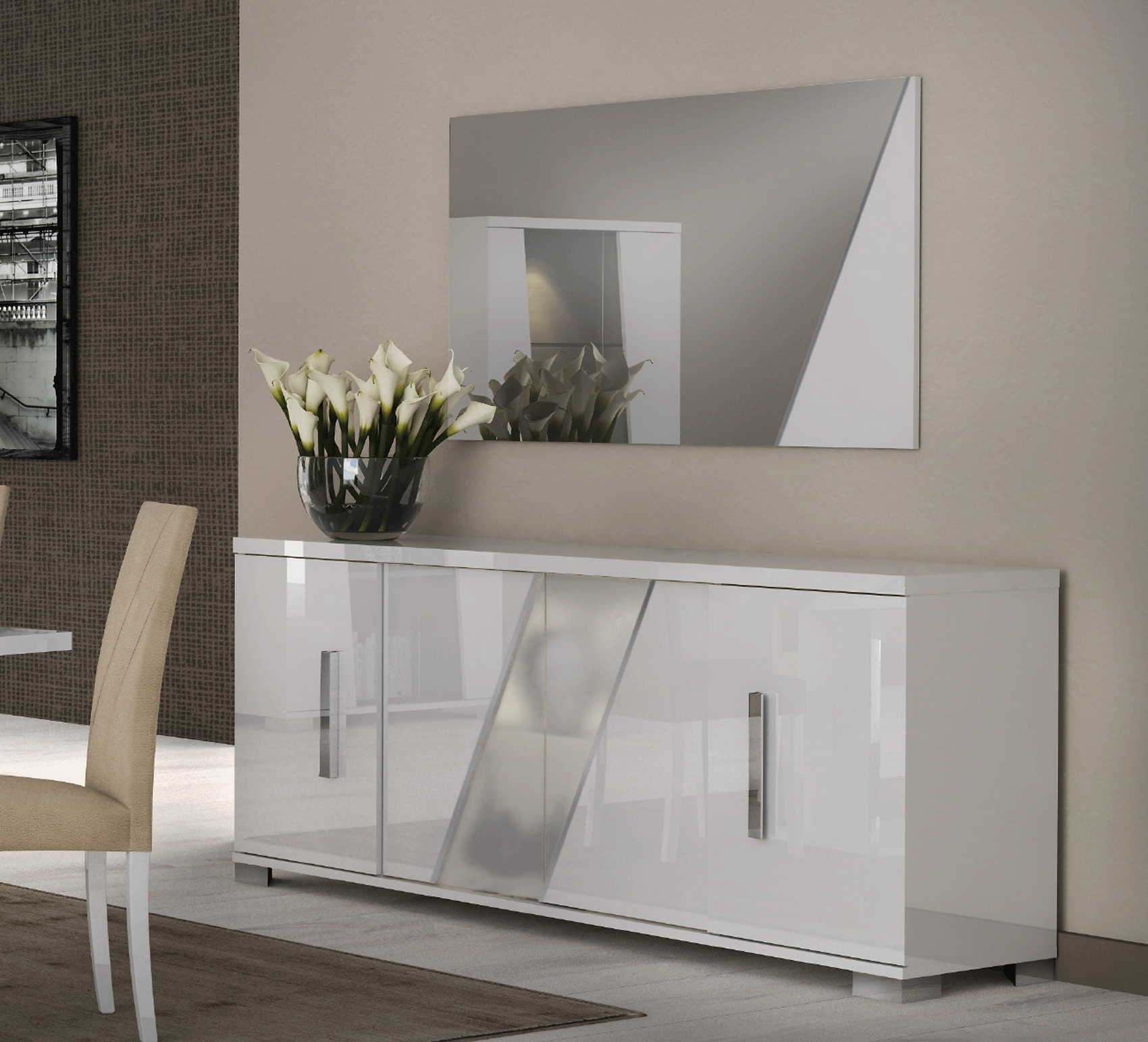 White Four Door Buffet with Optional Mirror