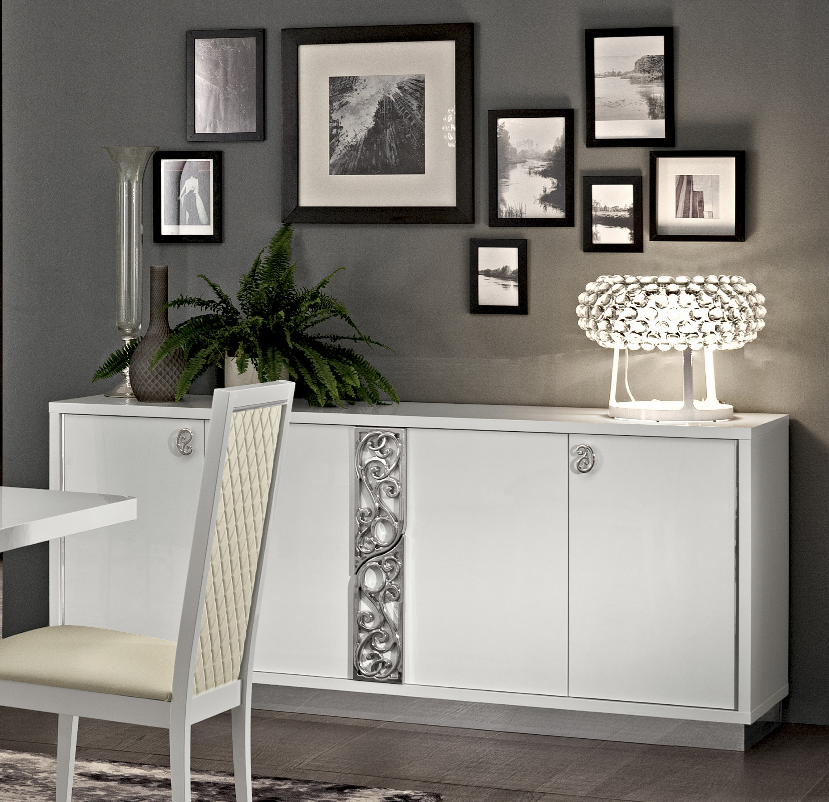 Luxury Sideboard with Four Doors in White Finish Los Angeles California ESF Roma White Wood