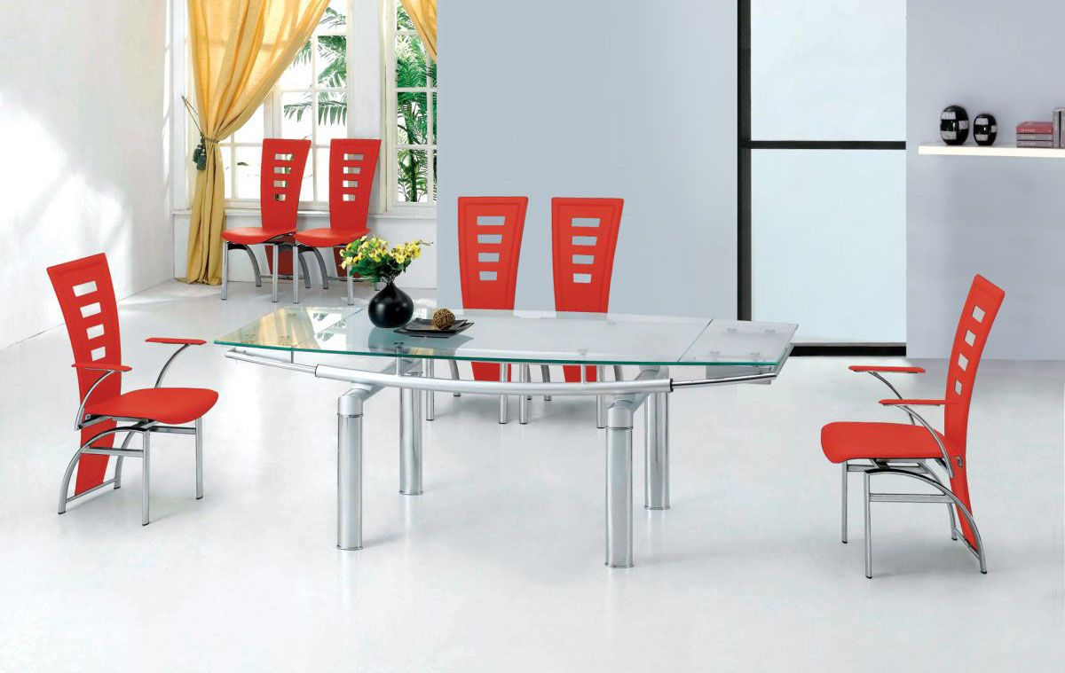 Extendable Clear Glass Top Leather Dining Set Furniture