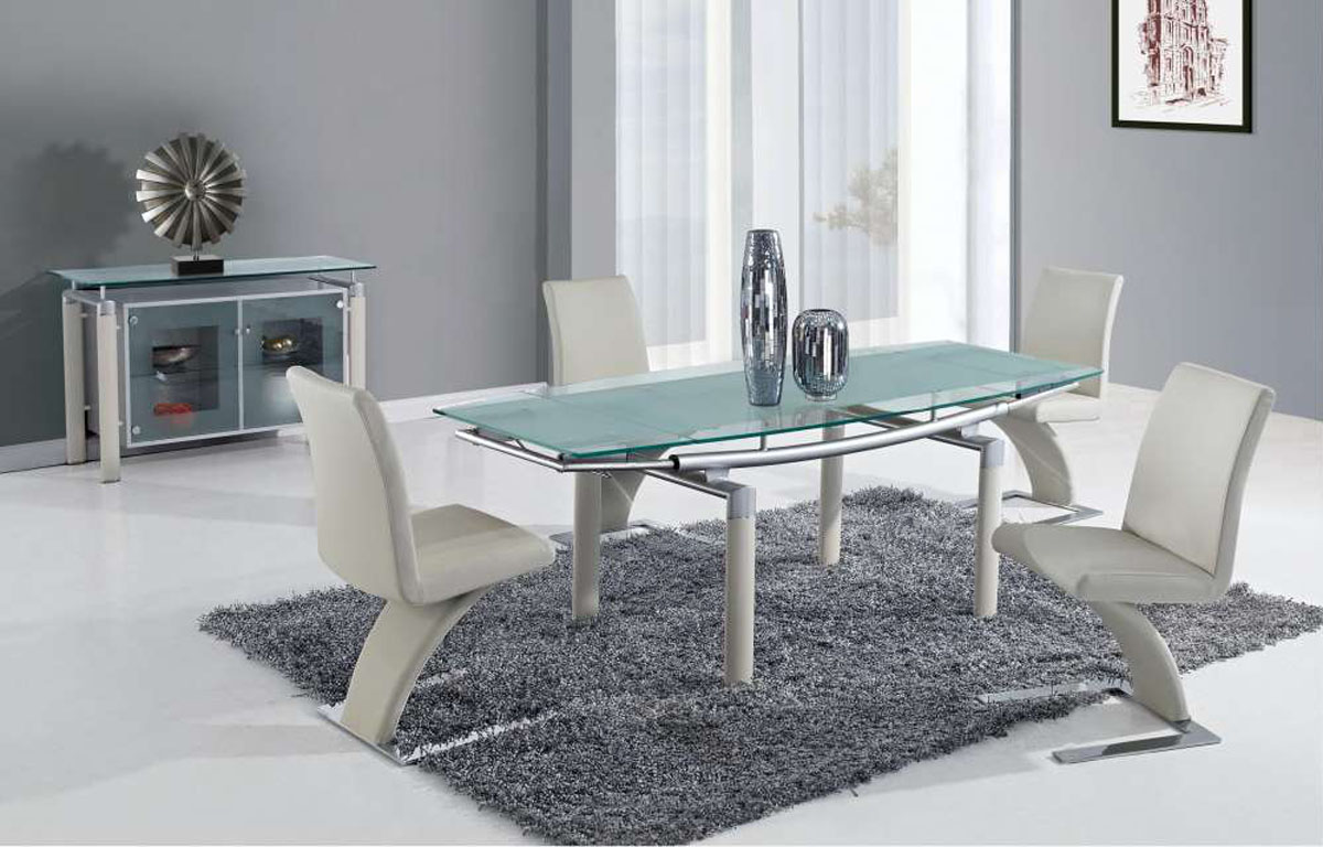 Extendable Frosted Glass Top Designer Modern Dining Room With Leaf Spokane Wa