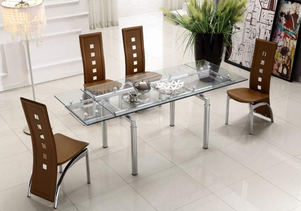 Extendable clear glass top leather modern dining table for Glass dining room sets