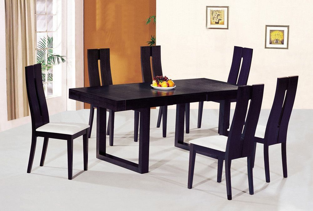 Contemporary luxury wooden dinner table and chairs buffalo for Contemporary dining set