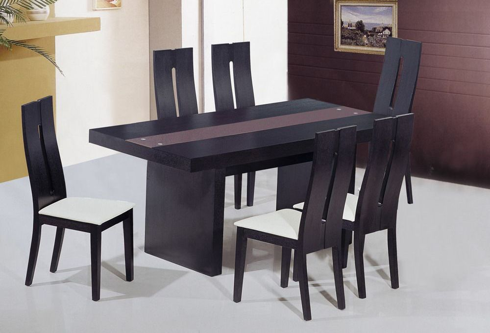 Unique frosted glass top modern dinner table set riverside california ah6142 - Modern design dining table ...
