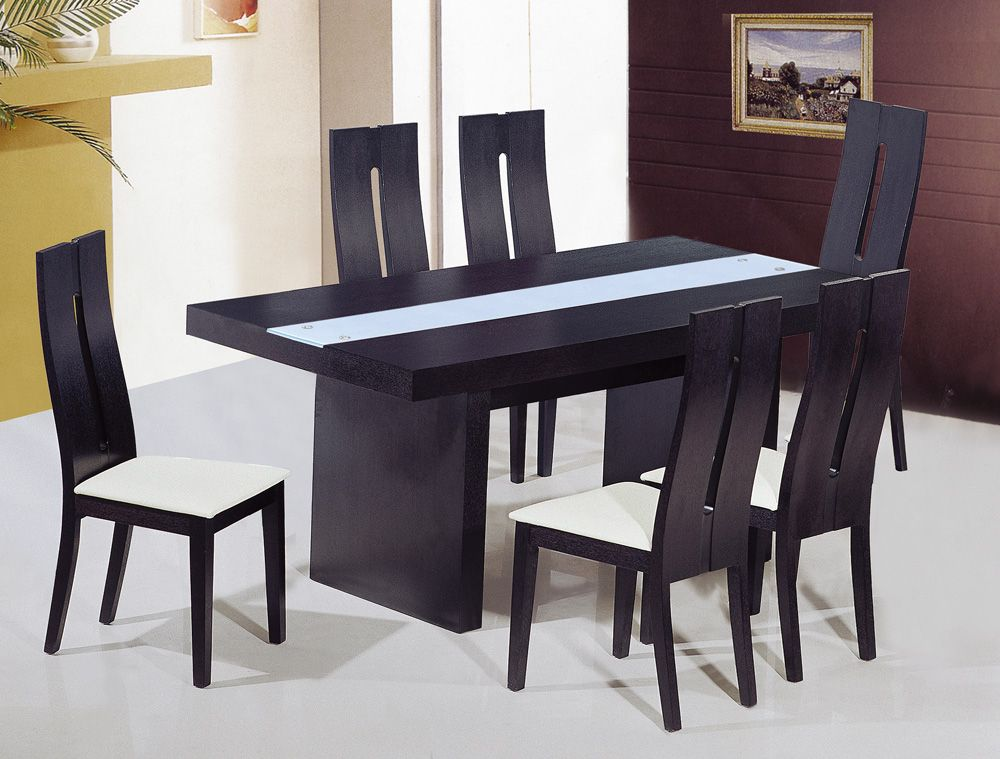 Unique frosted glass top modern dinner table set riverside for Unusual glass dining tables