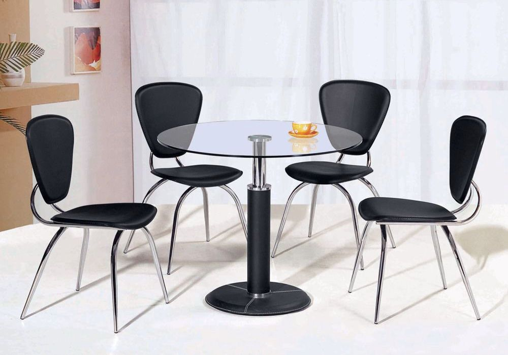 Contemporary Style High Class Round Leather 5 Pc Kitchen Set St Paul Minneso